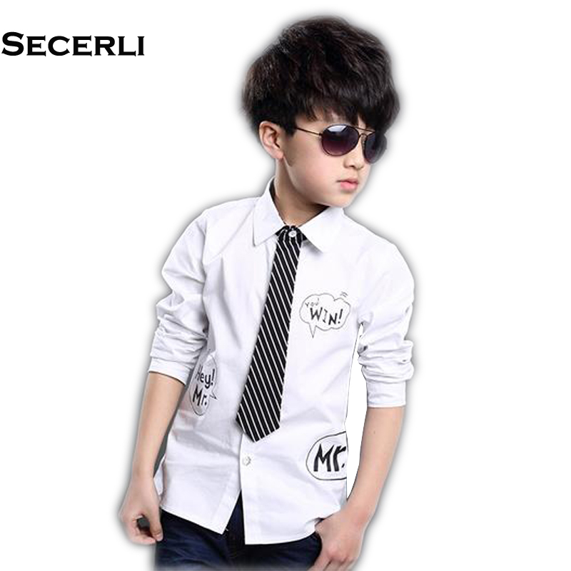 2018 New Spring Autumn Long Sleeve Boys Blouses Breathable 100% Cotton Kids Children Shirts 4 to 15Years Kids Shirts Boys Shirts ...