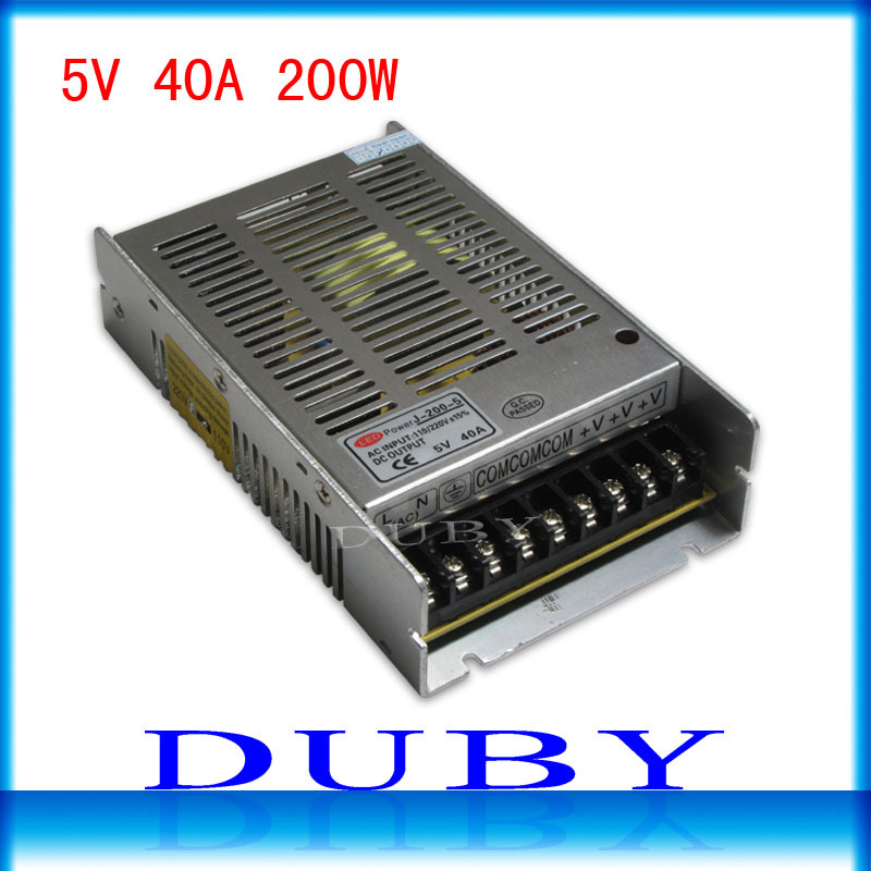 2pcs/lot New model 5V 40A 200W Switching power supply Driver For LED Light Strip Display AC100-240V Factory Supplier Free ship good group diy kit led display include p8 smd3in1 30pcs led modules 1 pcs rgb led controller 4 pcs led power supply
