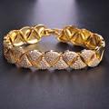 Blucome Upscale Full Zircon Stones Bracelets Gold Plated Soft Copper Pulsera Feminina Cuff Bileklik Engagement Accessories