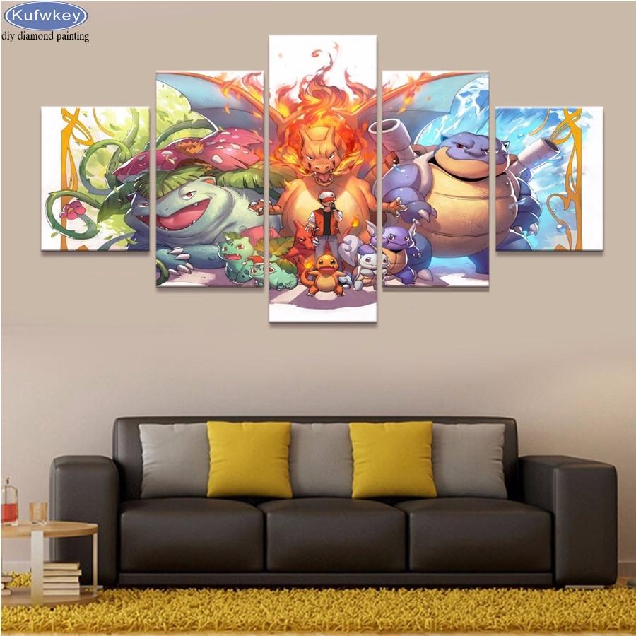 5 pièces diamant peinture Pokemon dessin animé mur Art photo pour la décoration intérieure, 3d diamant broderie mosaïque point de croix artisanat