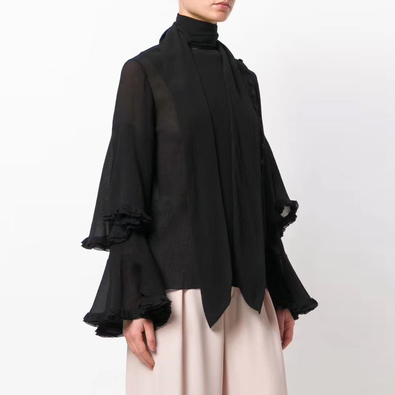 Femmes automne nouveau chemise en mousseline de soie à volants femmes mode lâche boutonné trompette manches femmes chemises Streetwear Blouse 2018 femmes