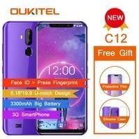 OUKITEL C12 Face ID 6.18 19:9 Smartphone Fingerprint Android 8.1 Mobile Phone MT6580 Quad Core 2G RAM 16G ROM 3300mAh Unlock