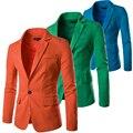 Дешевые Красочные One Button Slim Fit Мужчины Белье Блейзер Летний Костюм Куртка Дышащая Белый Черный Orange Зеленый Темно-Синий