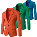 Cheap Colorful One Button Slim Fit Men Linen Blazer Summer Suit Jacket Breathable White Black Orange Green Navy Blue