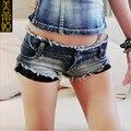 Alta calidad mujeres del verano Sexy Cut Off Lace Shorts de talle bajo mujeres Jeans Denim súper cortos pantalones cortos Mini Shorts envío gratis