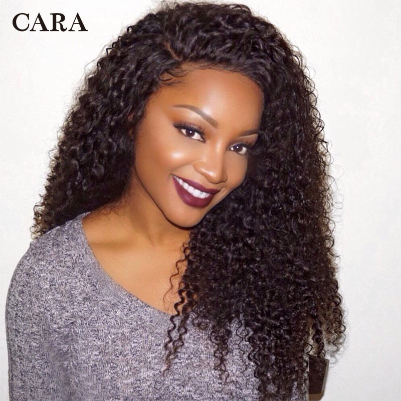 Kinky Curly Lace Wigs Lace Front Human Hair Wigs For Women Brazilian Natural Black Color Glueless Lace Front Wig Remy Wigs CARA