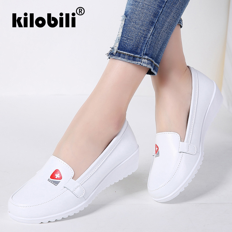 kilobili Spring Girls Flats Footwear Leahter Nurse Footwear Shallow Tender Rubber Informal Moccains Girls Slip on Boat Footwear Ballet Women slip on boat footwear, girls flats, slip on,Low cost...