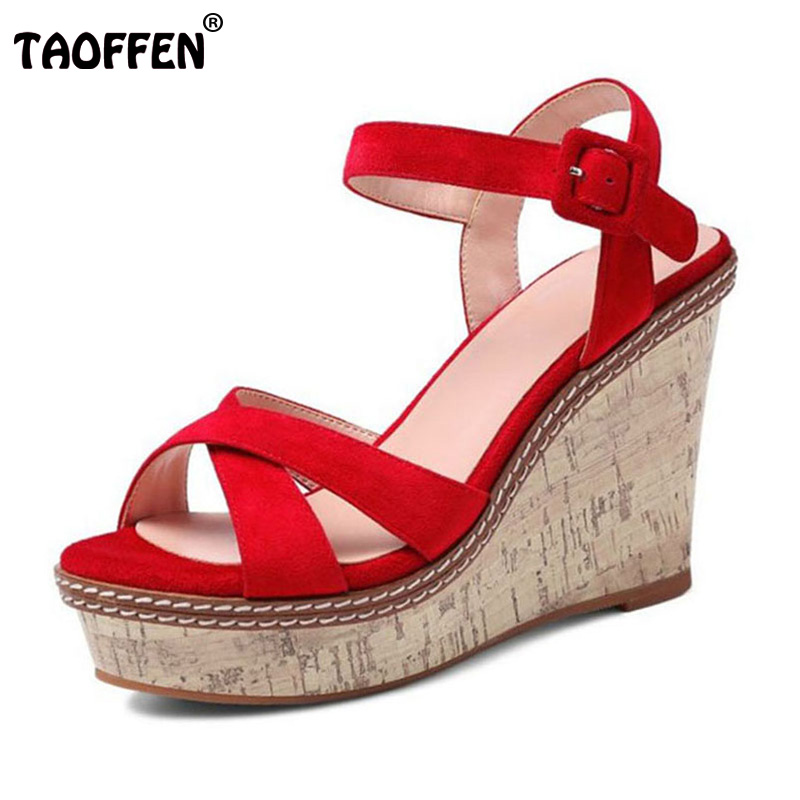 TAOFFEN Women Wedding Real Genuine Leather High Wedges Sandals Ankle Strap Peep Toe Sandals Platform Summer Shoes Size 34-39 free shipping 100%real picture women shoes wedges high heels platform luxury ethnic diamond genuine leather peep toe sandals