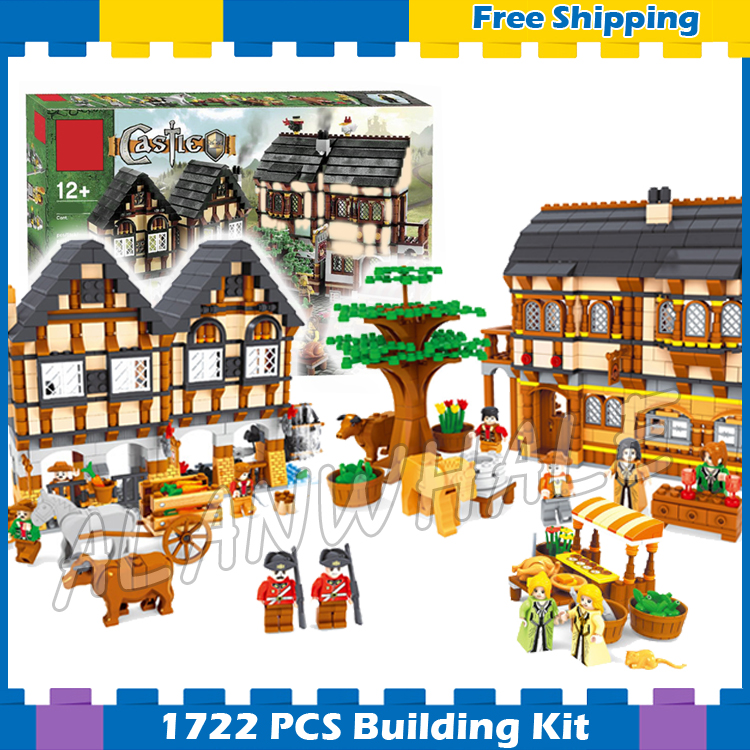1722pcs Castle Series Medieval Market Village Assemble DIY Model Building Blocks Children Gifts sets Compatible with Lago image