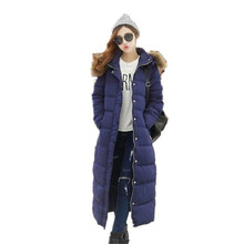 2016 Fashion Winter Down Cotton Jacket Women Thicken Warm Big Yards Raccoon Fur Collar Hooded Slim Extra-Long Coat Parka A1174