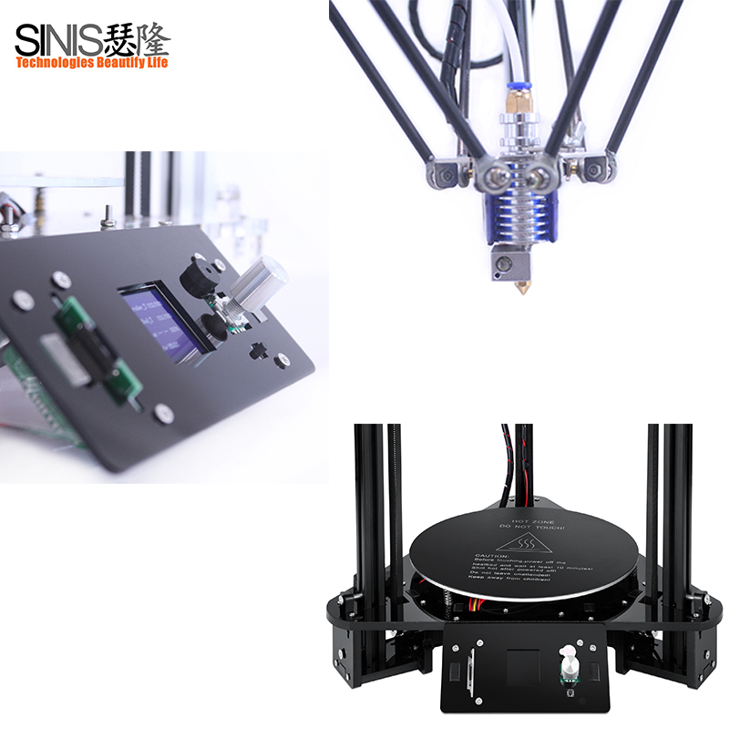 US $150 0 5% OFF|High Precision Delta 3D Printer Kit Multi Languages Menu  3D Printer Machine with Remote Feeding BMP Laser Engraver 3d Printing-in 3D