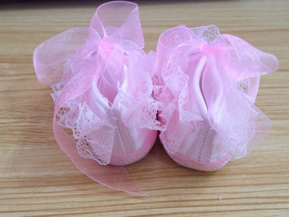 Newest Todder pre-walker shoes Rose Flowers Ribbon bow Princessborn Baby Shoes soft sole