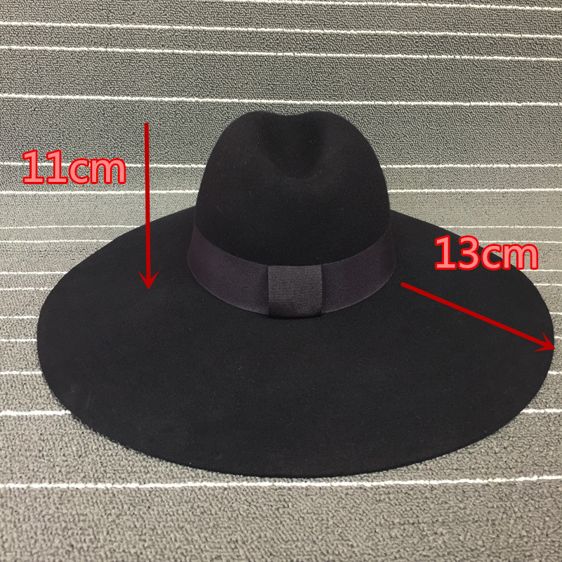 01907-nao-ao wool big brim black fedoras  hat  cap men women leisure panama jazz hat
