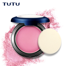 TUTU 6 Colors Facial Blusher Cream-to-Powder Makeup Blush Beauty Shadow Brand Wet Dry Powder Cheek Red Bronzer With Puff