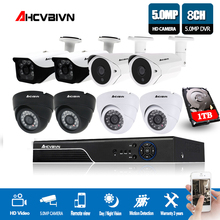 H.265 5MP CCTV System 8CH DVR kit 8Pcs 5MP low illumination Camera indoor Outdoor Dome AHD CCTV Camera System XMeye Remote View aokwe full 720p 8ch ahd dvr security camera system kit 1200tvl 8pcs 720p dome ir cctv camera indoor dome ahd dvr kit