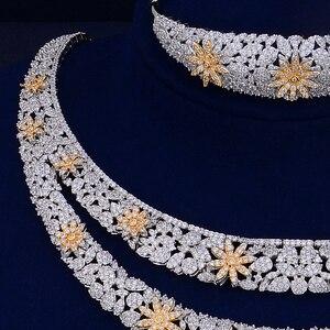 Image 4 - GODKI Luxury Double Layers Nigerian Bridal Jewelry Sets For Women Cubic Zirconia Crystal CZ Dubai Indian Gold  jewelry Sets 2018