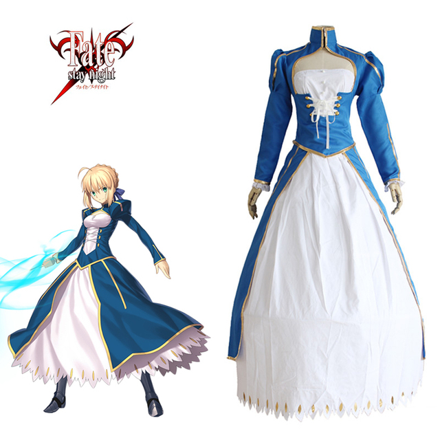 3f8b799c20b Saber Blue Dress Cosplay Fate Stay Night Fate Zero U.B.W-TE Japanese Anime  Women Halloween