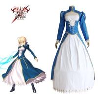 Saber Blue Dress Cosplay Fate Stay Night Fate Zero U.B.W-TE Japanese Anime Women Halloween Arturia Pendragon Costume
