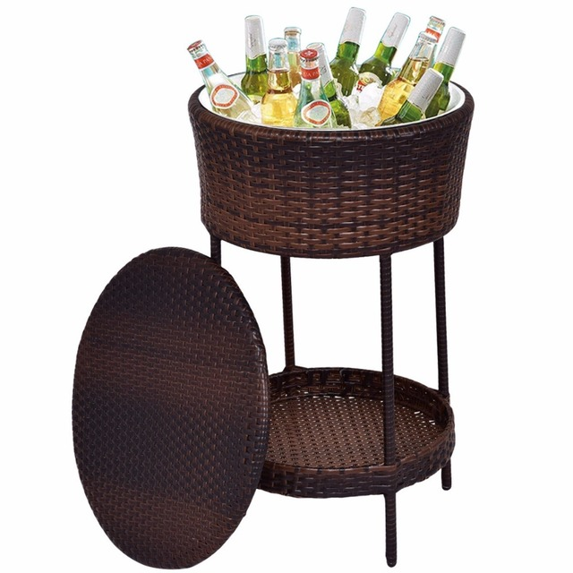 Goplus Patio Bar Cooler Ice Bucket Brown Outdoor Wicker Storage Poolside  Beverage Cart Deck Vintage Bar