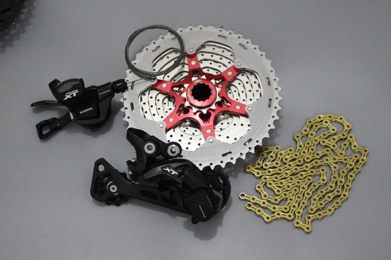 Shimano 1x11 M8000 4pcs groupset kit Spd SL M8000 I RD M8000 with Sunrace CSMX8 11 46T 11 50T K7 KMC gold chain