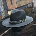 2016 Summer Metal printing letters Wide Brim Panama Straw Fedora Hat Beach Sun Hats For Mens  free shopping