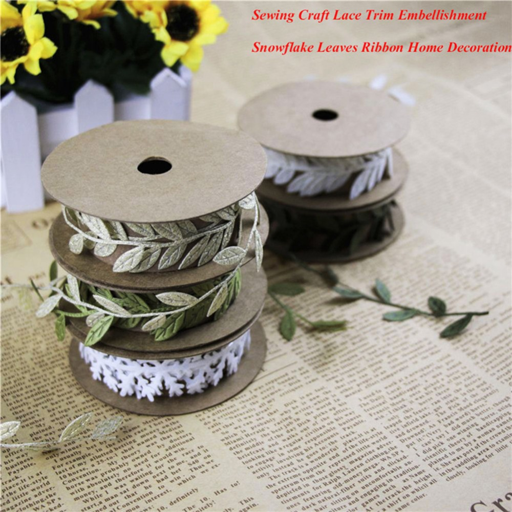 Sewing Craft felt Lace Trim White Snowflake Embellishment Christmas decorations Green Leaves Ribbon DIY New year Ornaments
