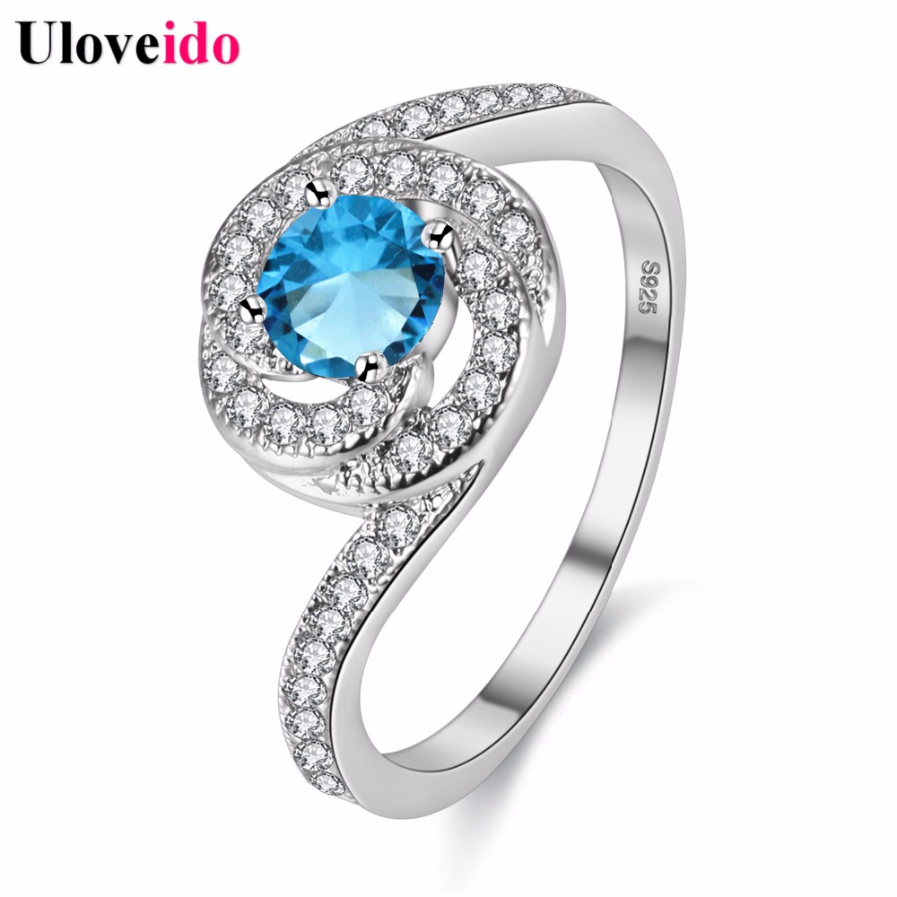 Uloveido Silver Color Rings for Women Crystal Vintage Ring with Blue Stone Birthday Gifts The Most Beautiful Ring Anillos Y3319