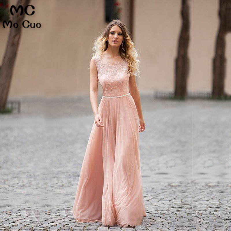Ready to ship Big Discourt Promotion 2018 Cheap A-Line Scoop Lace Long Chiffon Pink   Bridesmaid     Dress   for women