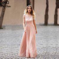 Ready to ship Big Discourt Promotion 2018 Cheap A Line Scoop Lace Long Chiffon Pink Bridesmaid Dress for women