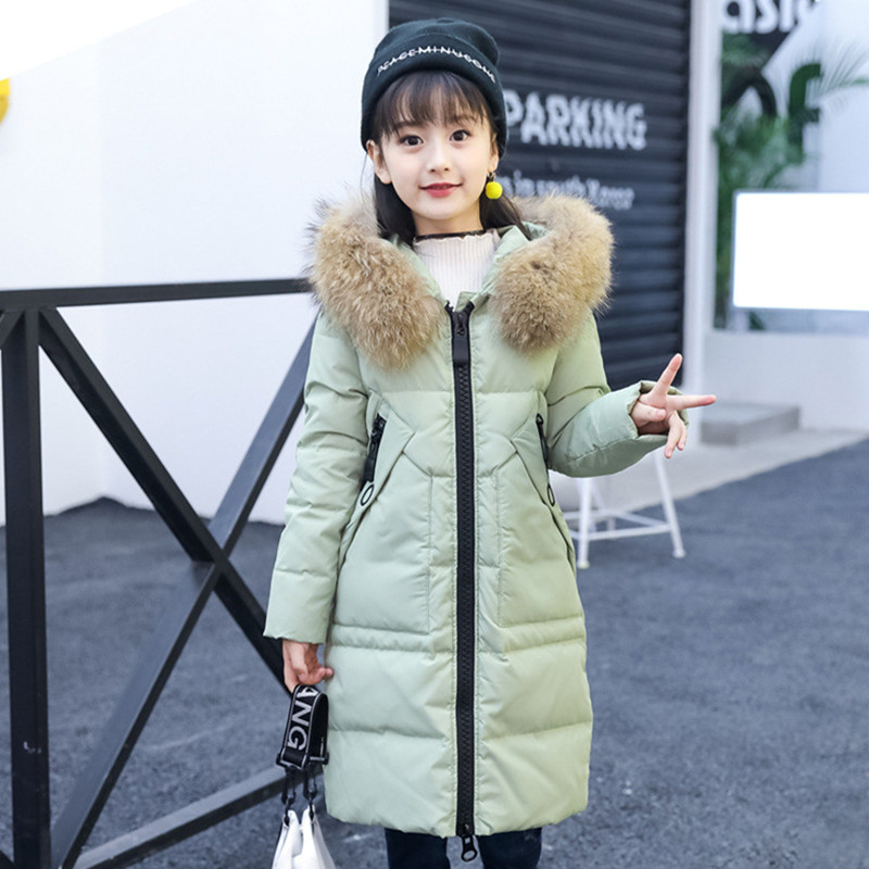 New 2018 Fashion Children Winter Jacket Girl Winter Coat Kids Warm Thick Fur Collar Hooded long down Coats For Teenage 4Y-14Y girls down coats girl winter new 2018 fashion children coat kids warm thick fur collar hooded long down parka for teenage 4y 14y