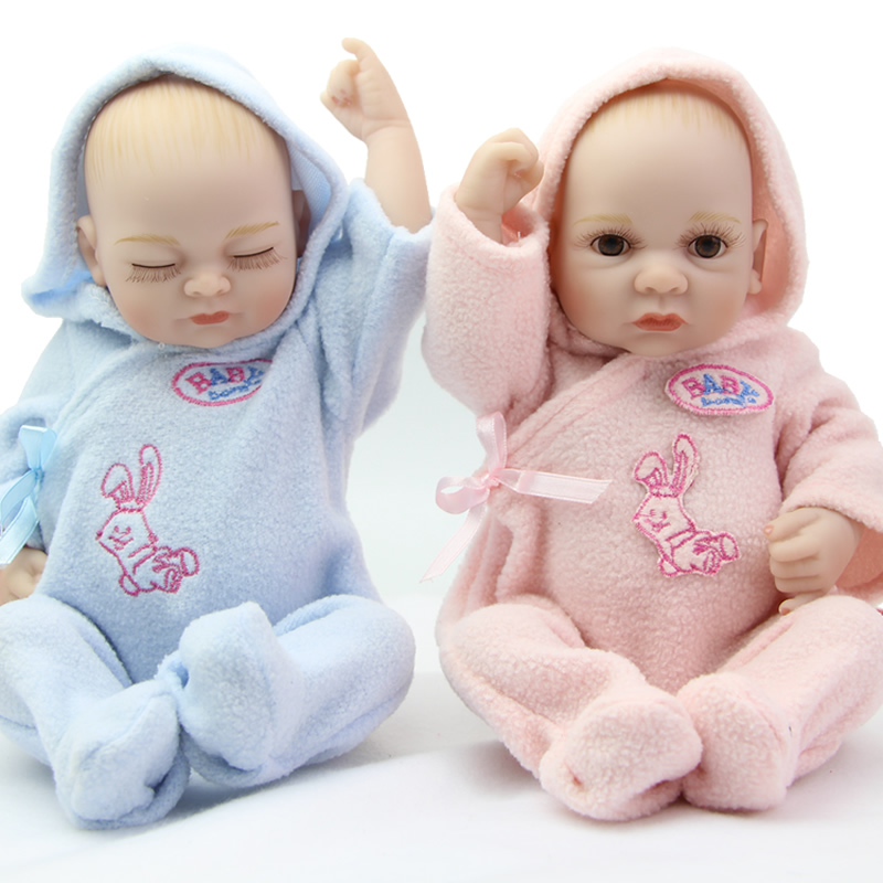 11 inch twins full silicone vinyl reborn baby dolls real looking boy and girl babies cheap mini cute doll children birthday gift in dolls from toys