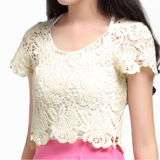 09dae1e3320e03 S-XL Plus Size Crochet Pullovers Women Fashion Solid Short Sleeve Lace Crop  Tops Overall Smock Hollow Out Thin Floral Sweaters