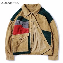 Aolamegs Denim Jacket Men Corduroy Cowboy Patchwork Men's Jacket Pockets High Street Fashion Casual Outwear Men Coat 2017 Autumn
