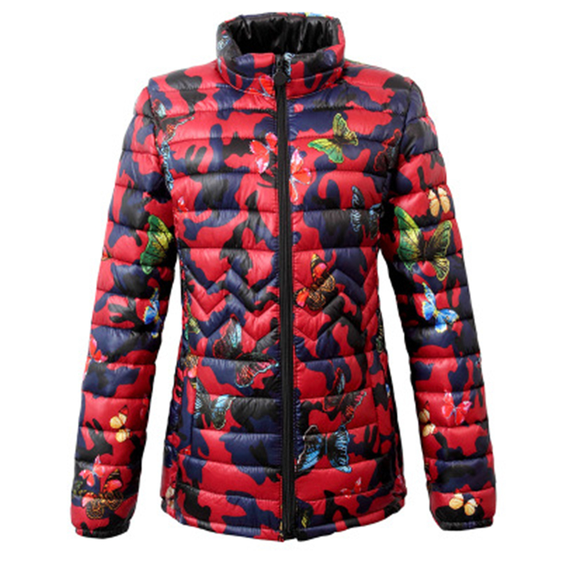 XL-6XL Winter female Print   Parkas   coat casual large size outerwear big size women Cotton coats jackets warm women's   parkas   J868