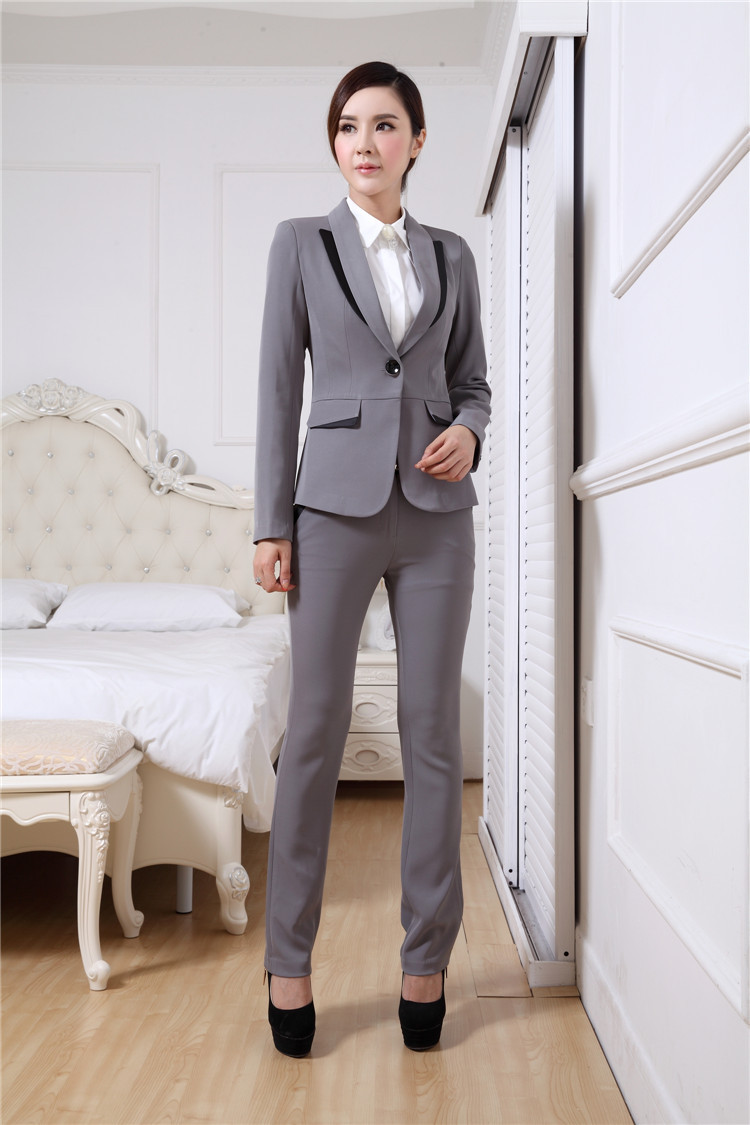 Excellent Fashion Stretch Cotton Women White Pant Suits Three Quarter Sleeve Blazer And Long Trouser Suit ...