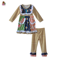 Factory Selling New Style Kids Clothes Girls Set Bib Deco Knitted With Pocket Brown Stripe Pants