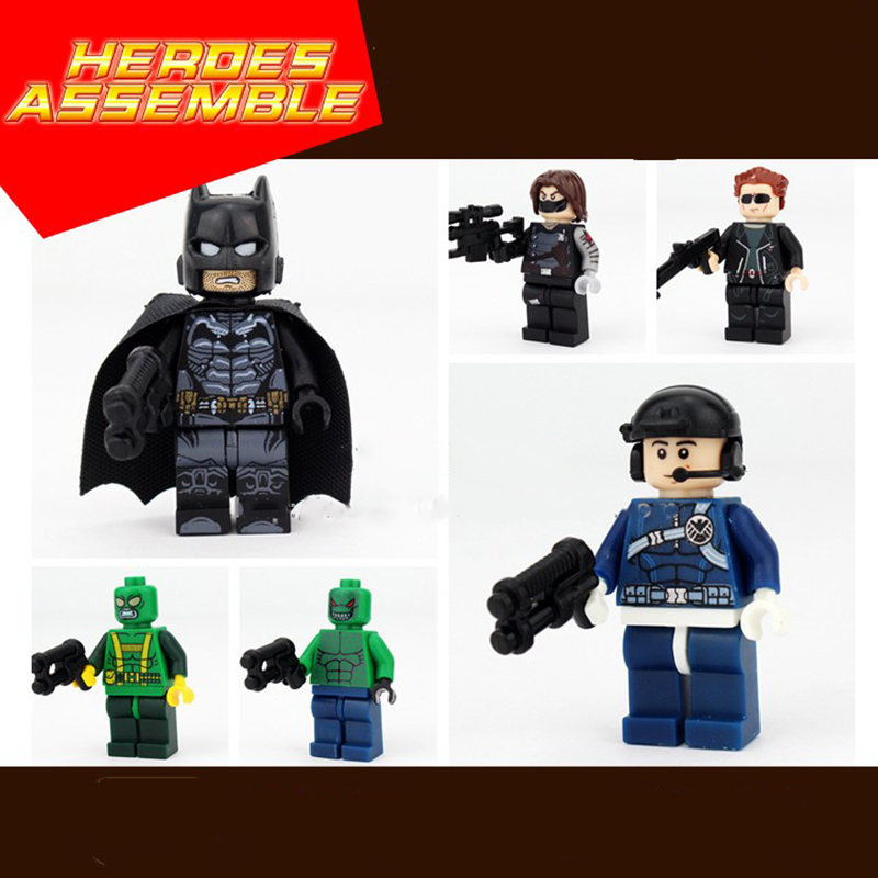 New Compatible LegoINGlys Marvel Super Heroes Minifigure Batmam Winter Soldiers Terminator Building Blocks Toys For Boys Gifts