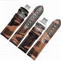 22 24 26mm Men Women VINTAGE Army Brown Watch Band Real Calf Leather Thick Strap Belt Silver Black Clasp