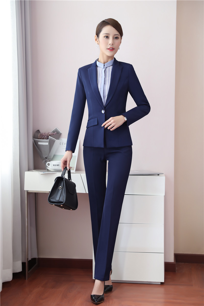 bd2bfe3cfc22 Uniformi Giacca Vestito Stili Eleganti blu Usura Ufficio E Del Con Donna  Donne Lavoro Per Blazer Delle Nero Set Nero Il Di Pantaloni 6TETrwUq