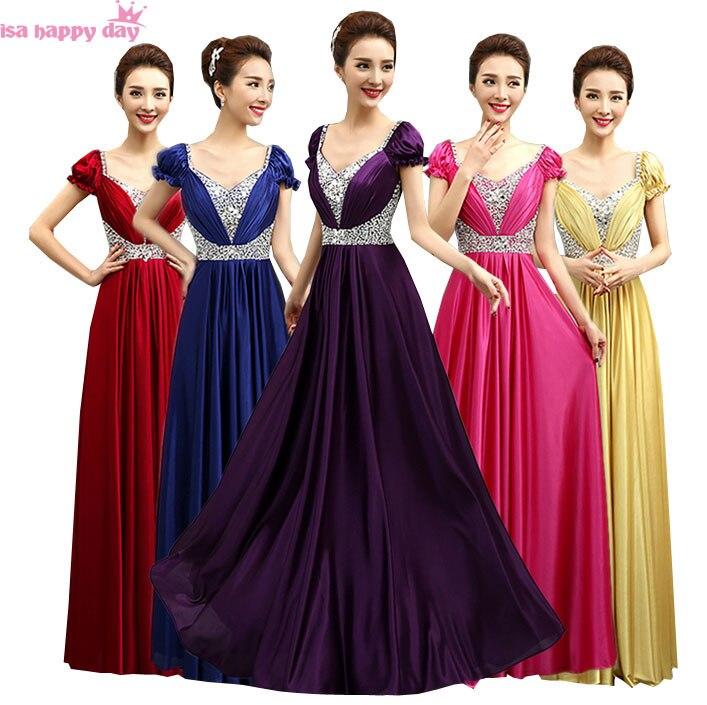 Femmes mode violet demoiselles d'honneur or robes de demoiselle d'honneur-parole-longueur de fiançailles longue robe de soirée robes rouges mariages B3044