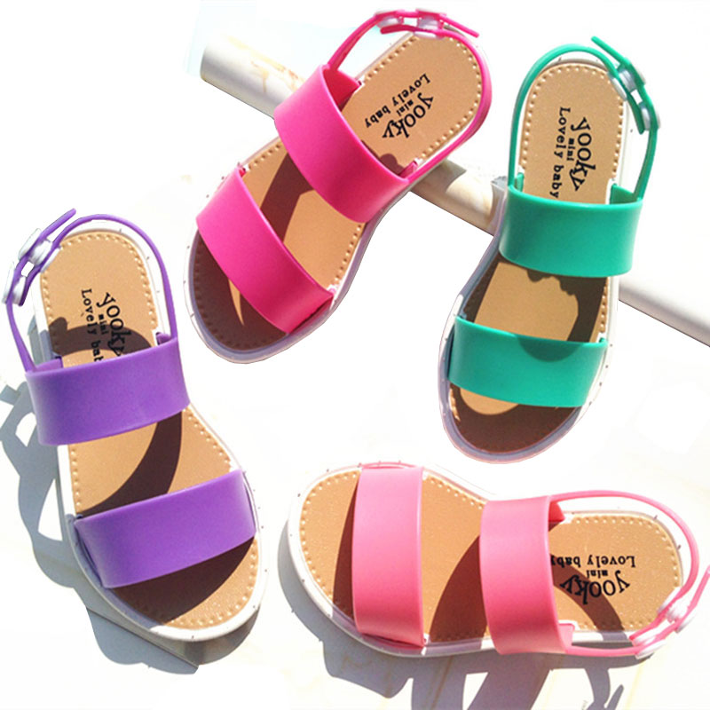 New Summer Girls Shoes Fashion European Style Sandals For Girls 3-7y Kids Rubber Sandal PVC Leather Kids Sandals