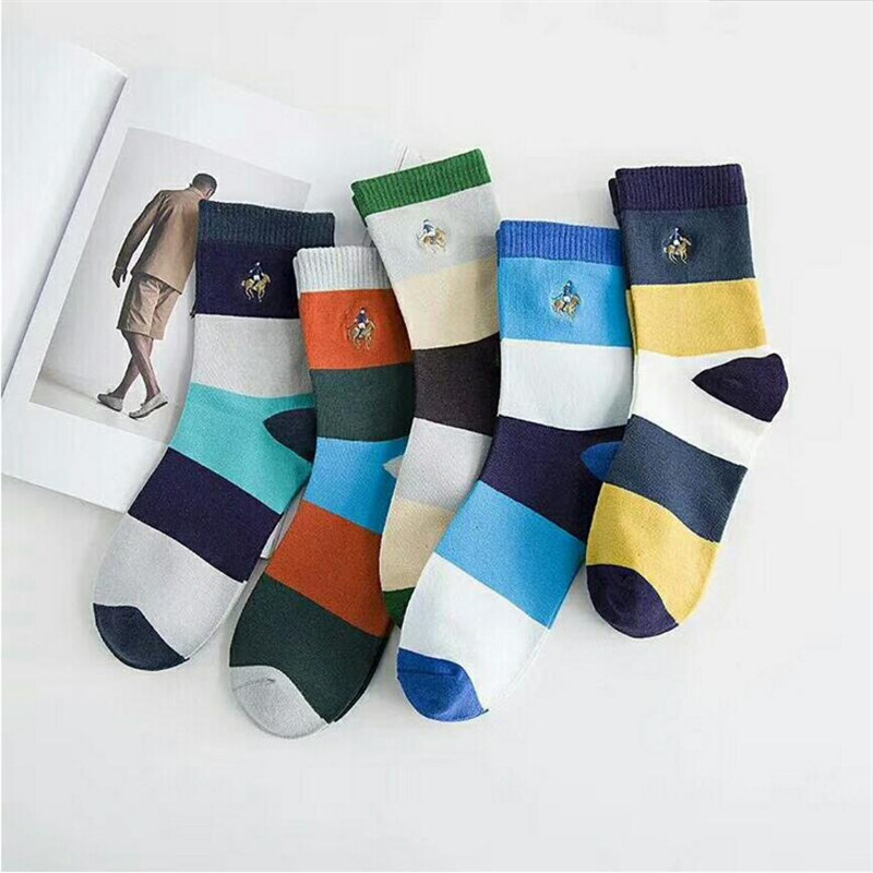New Hot-sell men socks cotton 5 pairs/lot autumn-winter Breathable Socks High quality striped colorful dress socks Male