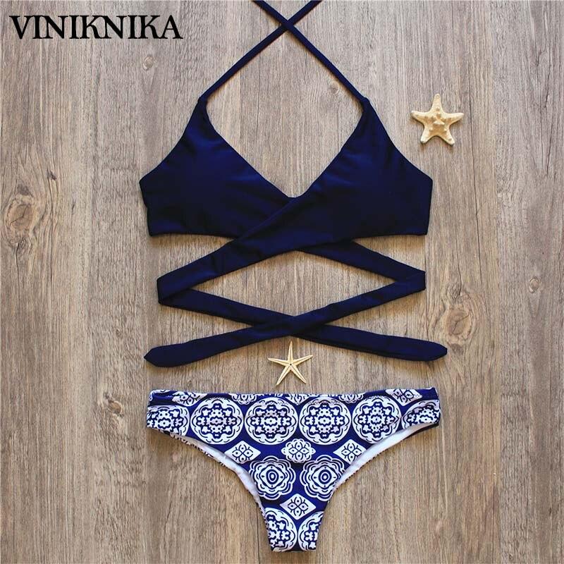 VINIKNIKA 2017 Hot Woman Bikini Swimsuit Sexy Lady Low Waist Cross Bikini Set New Summer Beach Brazil Swimwear 4