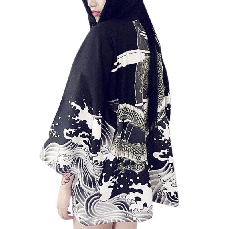 Summer Autumn Vintage Novelty Dragon Waves Printed Chiffon Sun Protection Cardigan Kimono Sun Shirt Women Clothing Outerwear