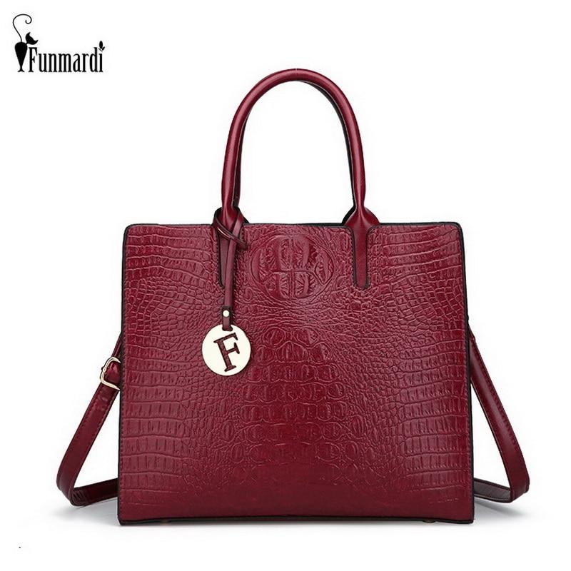 FUNMARDI Crocodile Pattern Luxury Handbags Women Shoulder Bag New Fashion Crossbody Bag Ladies PU Leather Hand Bags WLHB1795 все цены