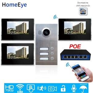 3-семейная система контроля допуска к двери 720P 7 ''WiFi IP видео домофон видеодомофон iOS/Android мобильное приложение удаленное разблокировать сигн...
