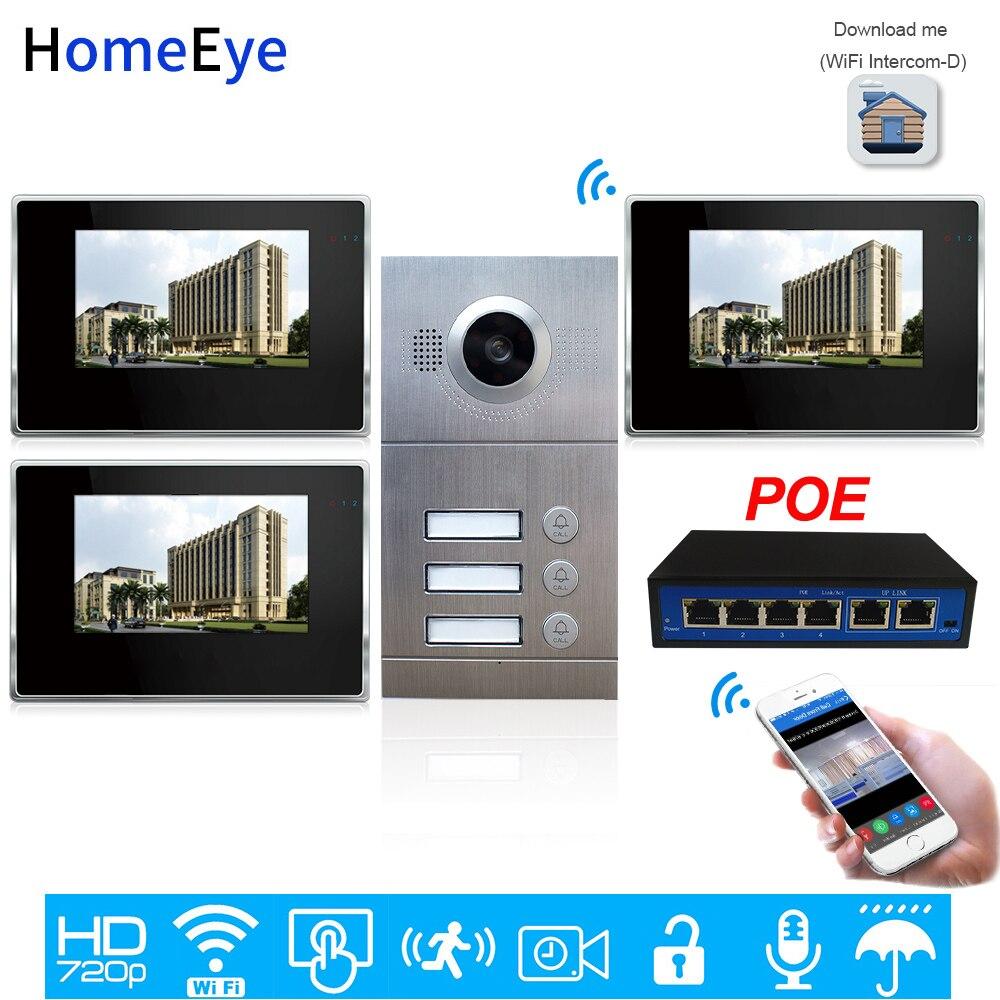 3-Family Door Access Control System 720P 7'' WiFi IP Video Door Phone Video Intercom IOS/Android Mobile APP Remote Unlock Alarm
