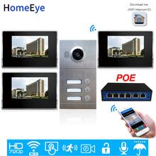 3-rodzina system kontroli dostępu do drzwi 720P 7 #8221 WiFi IP wideo telefon drzwi wideodomofon z systemem iOS Android aplikacji mobilnej zdalne odblokowanie Alarm tanie tanio homeeye Głośnomówiący Przewodowy CMOS Kolorowy Ekran Dotykowy Acrylic panel case Do Montażu na ścianie P214-4S1M714B3-87POE