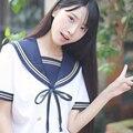 ROLECOS Estudiantes Traje de Marinero Japonés de la Nueva llegada de Alta calidad Trajes de Marinero Azul Bowknot Niñas Uniforme Escolar Establece