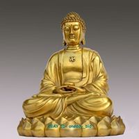 figure statues sculpture for home Large Nice Sakyamuni Gautama Amitabha Buddha Statue Figure 10 H copper Decoration real Brass